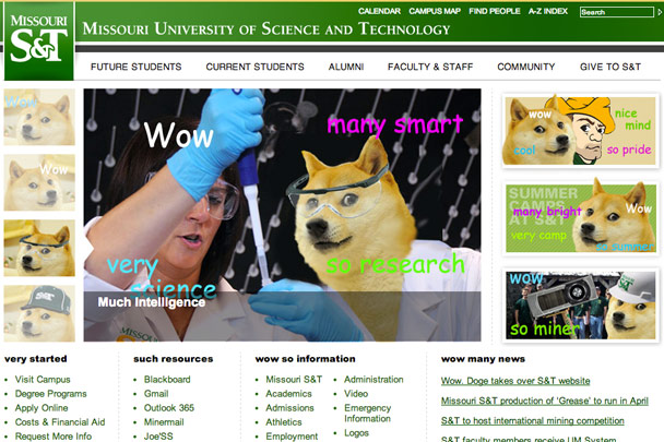 Missouri University of Science and Technology April Fools' homepage takeover
